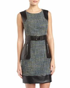 T75AK Laundry by Shelli Segal Tweed & Faux-Leather Belted Dress, Blue Jewel