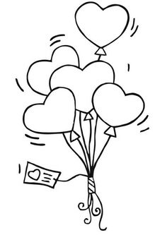 Coloring Page heart balloon - free printable coloring pages Free Coloring Sheets, Coloring Book Pages, Printable Coloring Pages, Valentine Coloring Pages, Heart Balloons, Wedding With Kids, Digi Stamps, Easy Drawings, Doodles