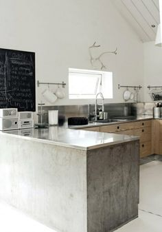 [Love the concrete and the SS countertops. Also LOVE the fact that there are no uppers and that beautiful sloped ceiling.]
