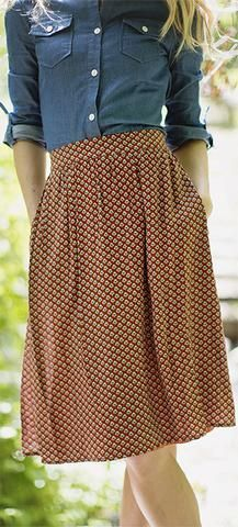 Rust Shell Skirt  Cute lightweight polyester rust shell print knee length modest skirt. Paired with the Chambray Top. Can we born professionally or casually.   Modest skirt  Modest teacher skirt