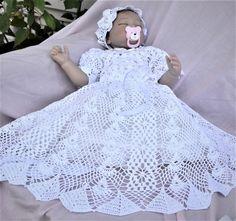 Ideas Crochet Baby Dress Christening Gowns For 2019 Lace Christening Gowns, Baby Christening, Baptism Gown, Baby Dress Patterns, Crochet Patterns, Blessing Dress, Gown Pattern, Crochet Baby Clothes, Thread Crochet
