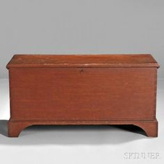 Shaker Red-painted Pine Blanket Box, Hancock, Massachusetts, early 19th century, the box and bracket base with dovetail construction, the molded