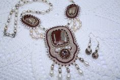Bead Embroidery Bib Jasper Pearl Necklace & by DASHARTSTUDIO, $239.00