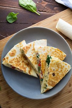 Spinach, Feta and Egg Breakfast Quesadillas (Freezer-Friendly)