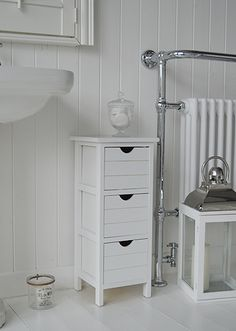 Side Photo Of Portland Narrow White Bathroom Storage Cabinets A Three Drawer Free Standing