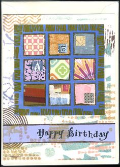 SOLD - Collaged handmade greeting card with stenciled background and rubber stamped greeting. @TCWstencils, #thecraftersworkshop, #thecraftersworkshopstencils