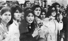 Students of the Kabul University welcome the 1978 'Saur Revolution'.