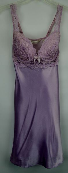 Victoria's Secret Small Push Up Purple Lace Chemise Nightie #VictoriasSecret #BabydollChemise