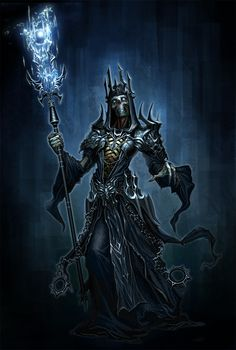 Lich- European myth: an undead sorcerer or king who uses spells to bind his soul to a phylactery, or an object separate from its body. This way, he gains immortality unless the object is destroyed. They are depicted as being cadaverous, bodies desiccated or completely skeletal. Liches often hold power over hordes of lesser undead creatures, using them as soldiers and servants.