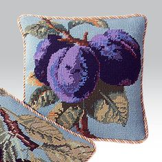Kaffe Fassett has used a rich palette of blues and purples for this fruit study.