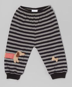 Look what I found on #zulily! Black Stripe Dachshund Leggings - Infant & Toddler #zulilyfinds