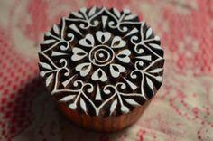 Wood block stamp Indian textile print mandala by Faerymother