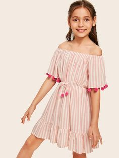 To find out about the Girls Off Shoulder Pom Pom Detail Striped Flounce Hem Dress at SHEIN, part of our latest Girls Dresses ready to shop online today! Dresses Kids Girl, Cute Dresses, Kids Outfits, Cute Outfits, Girls Fashion Clothes, Girl Fashion, Fashion Outfits, Dot Dress, Baby Dress