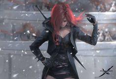 Jeer by wlop on DeviantArt Fantasy Kunst, Anime Fantasy, Fantasy Characters, Female Characters, Character Inspiration, Character Art, Katarina League Of Legends, Warrior Girl, Fantasy Artwork