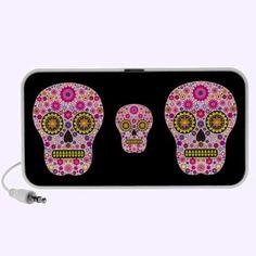 Pink Mexican Sugar Skull Notebook Music Speakers $44.95