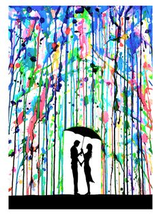 Ink Drawing ''Pour Deux'' by Marc Allante Painting Print on Wrapped Canvas - Painting Prints, Art Paintings, Watercolor Paintings, Art Prints, Drip Painting, Umbrella Painting, Umbrella Art, Colorful Paintings, Crayon Painting