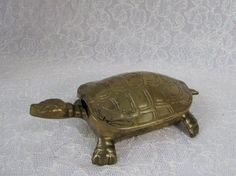 Solid Brass Turtle Trinket Box Lidded Hinged by BeanzVintiques