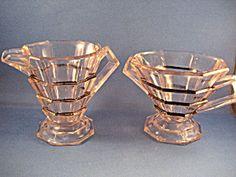 Art Deco Indiana Glass Cream And Sugar
