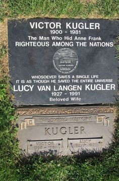 "Victor Kugler - Businessman, Folk Figure. Along with Miep Gies, Johannes Kleiman, and Elisabeth ""Bep"" Voskuijl (Elli Vossen), he helped hide Anne Frank; her family (father Otto, mother Edith, sister Margot); Fritz Pfeffer; and Hermann, Auguste, and Peter Van Pels from the Nazis in Amsterdam during World War II."