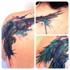 I can't wait to get my chest done Cool Tattoos, Elephant Tattoos, Body Art Tattoos, Raven Tattoo, Tattoos, Watercolor Bird Tattoo, Faded Tattoo, Watercolor Bird, Anniversary Tattoo