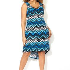Be the best dressed in a dress like this Ombre Chevron Hi Lo Dress with Necklace available online at avenue.com. Avenue Store Plus Size Dresses, Plus Size Outfits, Cute Dresses, Dresses For Work, Sun Dress Casual, Casual Wear, Avenue Dresses, Maxi Styles, Fashion Outfits
