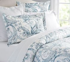 Joli Paisley Duvet Cover & Sham #potterybarn. Like the pictures above the bed and the painted plank wall