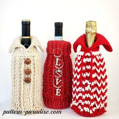 """Decorate your holiday gift bottles with this fun and festive bottle sweater cozy. The pattern offers two collar options, one turtleneck the other a winged collar, and the textured body is reminiscent of your favorite cable sweater."""
