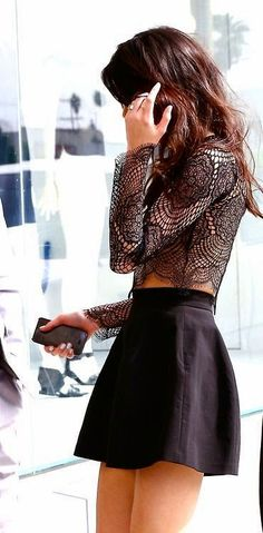 Luv to Look | Curating Fashion & Style: Street styles edgy lace top skirt