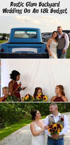 Rustic Glam Backyard Wedding | The Budget Savvy Bride | Wine bridesmaid dresses from David's Bridal | burgundy wedding | sunflower bridal bouquet #BridesmaidDressesLong #GreyBridesmaidDresses #LilacBridesmaidDresses #BridesmaidDressesMauve #BridesmaidDressesPurple
