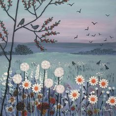 12 x 12 inch canvas print of English scene in the morning from an original mixed media painting 'Morning Glory' by Jo Grundy - *PLEASE NOTE this is a flat digital print from my mixed media original and so the colours may vary - Arte Peculiar, Arte Sketchbook, Nature Drawing, Art Nature, Wow Art, Canvas Prints, Art Prints, Painting Prints, Beginner Painting