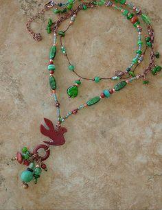 Boho Necklace Tribal Necklace Long Beaded Necklace by BohoStyleMe