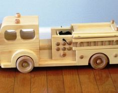 Items similar to Wooden Toy Fire Engine truck on Etsy
