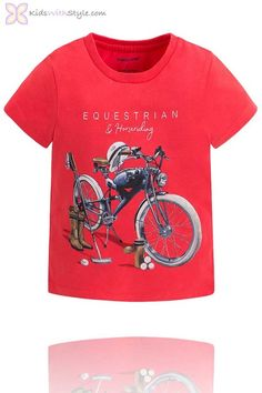 Boys Graphic Bike T-Shirt in Red Shop trending boy clothes at www.kidswithstyle.com  #boyfashion #kidsclothes #boyoutfits #kidsfashion Young Boys Fashion, Boy Fashion, Kids Motorcycle, Red Shop, Stylish Boys, Back To School Shopping, Wardrobe Basics, Boys T Shirts, Boy Outfits
