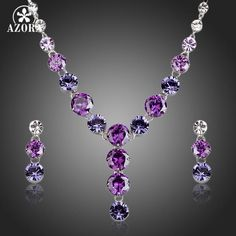 Charming Colorful Cubic Zirconia Necklace and Drop Earrings Jewelry Sets