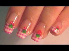 nail art video tutorial, pink, strawberry, picnic print nail polish, nail art, oje, tırnak süsleme,