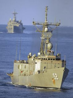 Guided Missile Frigate USS Carr And Dock Landing Ship USS Gunston Hall Photographic Print by Stocktrek Images at AllPosters.com