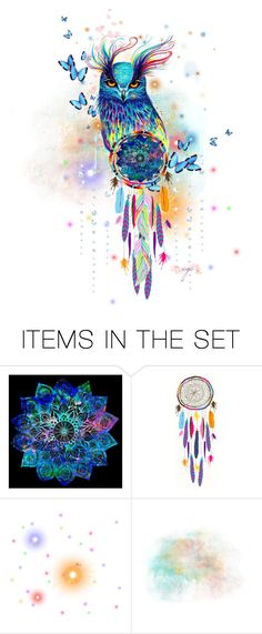 """My Owl TAS 8/3/2017"" by craftygeminicreation ❤ liked on Polyvore featuring art, owl, colorful, dreamcatcher and watercolor"