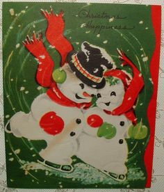 Skating Snowman & Snowlady - 1948 Vintage Christmas Greeting Card