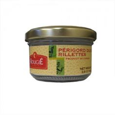Rillettes are made by cubing delicate meats, salting them, and then slowly cooking them in fat until they are tender enough to be easily shredded. They are then cooled with a small amount of fat in order to form a paste which can then be spread on bread, toast, or crackers.  Fully cooked, ready to eat. Chill in refrigerator 30 minutes before serving for best results. Refrigerate after opening Ideal for 2 to 4 people.  Glass jar, shelf stable for 4 years at room temperature. 2.8 ounces (80…