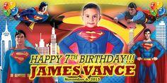 Birthday Tarpaulin Superman Theme Version 2 Template Happy 8th Birthday, Happy 1st Birthdays, Birthday Tarpaulin Design, John Dewey, Superman Birthday, Design Logos, Holidays And Events, Birthday Invitations, Spider