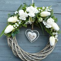 Summer Diy, Summer Crafts, Diy And Crafts, Paper Crafts, Willow Wreath, Shabby Chic Wreath, Christmas Swags, Deco Floral, Fall Diy
