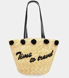 "Large ""Time to Travel"" Pom Pom Straw Tote Beach Vacation Bag #Unbranded #Tote"