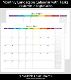 2018 2019 24 month landscape calendar with tasks printable calendars available in a variety of colors and sizes calendar 2018 2019 prin