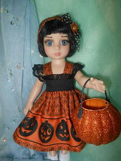 Halloween trick or treat outfit for Patsy and Ann Estelle, BJD 10 in. dolls. Click twice if you would like to go to ebay.