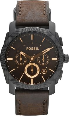 Fossil Men's FS4656 Leather Crocodile Analog with Brown Dial Watch < $120.00 > Fossil Watch Men #finemen'swatches