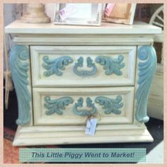 I painted this vintage 1970's night stand with Annie Sloan Chalk Paint Old White & Duck Egg!