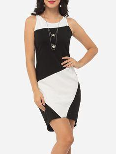 #Fashionmia - #Fashionmia Color Block Designed Crew Neck Bodycon-dress - AdoreWe.com