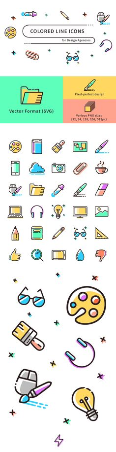 Freebie: Colored Line Icons (SVG, PNG A set of 30 colored line icons in fresh pastel tones for your next design agency related project. The icons come in vector format (SVG) and PNG. Icon Design, Web Design, Website Design, Design Agency, Line Design, Layout Design, Flat Design, Icon Set, Typographie Logo