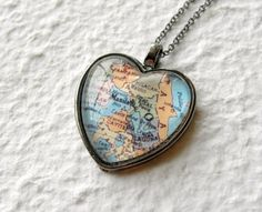 Heart Shaped Map Necklace - The GreenDaisyShop on Etsy - could put Disney map inside