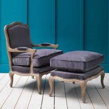 Antoinette Armchair and Footstool in Grey Velvet